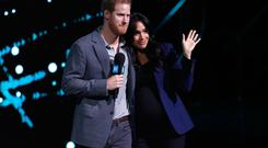 Prince Harry, Duke of Sussex and Meghan, Duchess of Sussex speak on stage during WE Day UK 2019 at The SSE Arena on March 06, 2019 in London, England. (Photo by John Phillips/Getty Images)