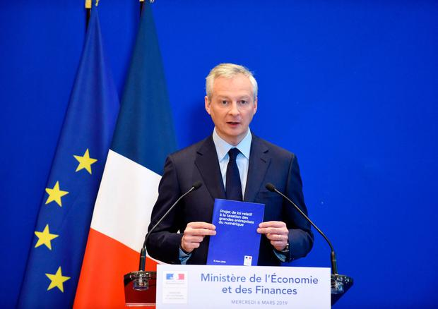 French Economy and Finance Minister Bruno Le Maire addresses a press conference at the Ministry of Economy in Paris. As the plan floundered, France, Italy and Spain have moved to introduce digital taxes on the national level. Photo: AFP/Getty Images