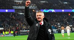 Manchester United's Norwegian headcoach Ole Gunnar Solskjaer gestures at the end of the UEFA Champions League round of 16 second-leg football match between Paris Saint-Germain (PSG) and Manchester United at the Parc des Princes stadium in Paris on March 6, 2019. (Photo by Anne-Christine POUJOULAT / AFP)ANNE-CHRISTINE POUJOULAT/AFP/Getty Images