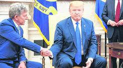 Refusal: US President Donald Trump meets Danny Burch, a former US hostage in Yemen, in the White House yesterday. Photo: Tom Brenner/Getty Images