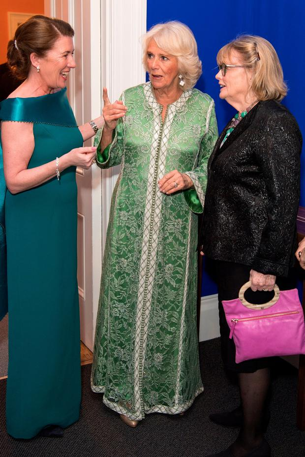 The Duchess of Cornwall (centre)during a St Patrick's Day Dinner at the Embassy of Ireland in Belgravia, London. PRESS ASSOCIATION Photo. Picture date: Wednesday March 6, 2019. Photo credit should read: Jeff Spicer/PA Wire
