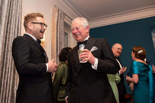 HRH Prince Charles and actor Kenneth Brannagh at the Irish Embassy March 6 2019