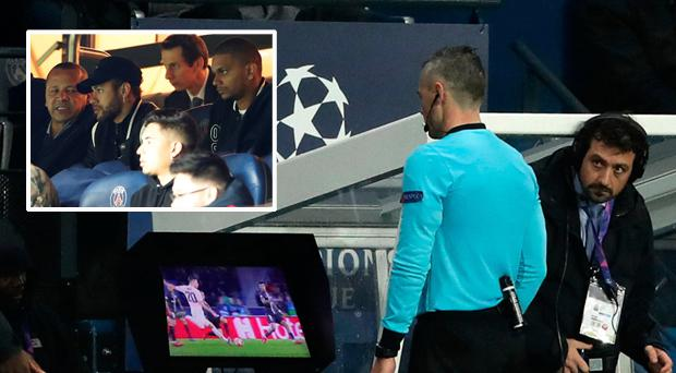 Match referee Damir Skomina studies the VAR System and (inset) Neymar at the match