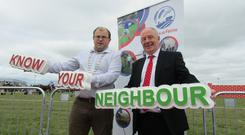 Pictured at the launch of Macra na Feirme's Know Your Neighbour last year is Macra na Feirme National President James Healy and the Minister for Rural and Community Development Michael Ring.