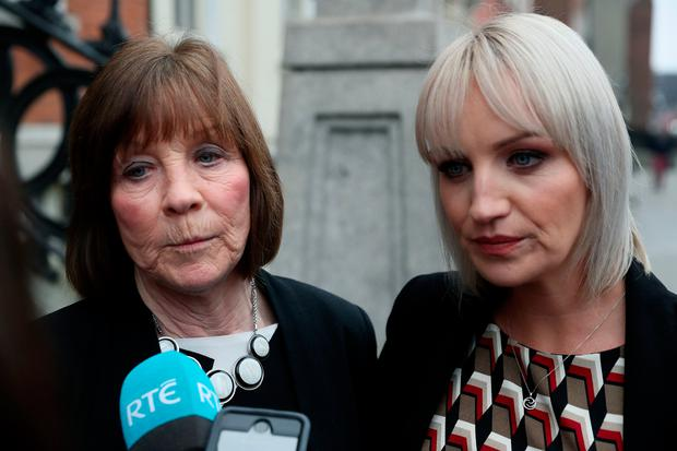 Clodagh Hawe's mother Mary Coll (left) and her sister Jacqueline Connelly leaving the Department of Justice in Dublin following a meeting with Justice minister Charlie Flanagan. Photo: Brian Lawless/PA Wire