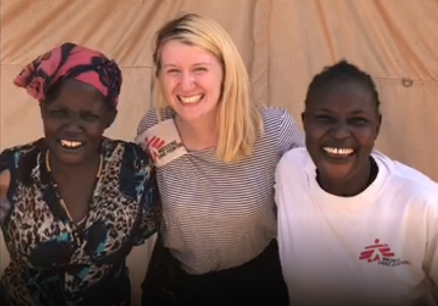 Jennifer Collins from Co Wicklow in Benitu, South Sudan with two women in the local community.