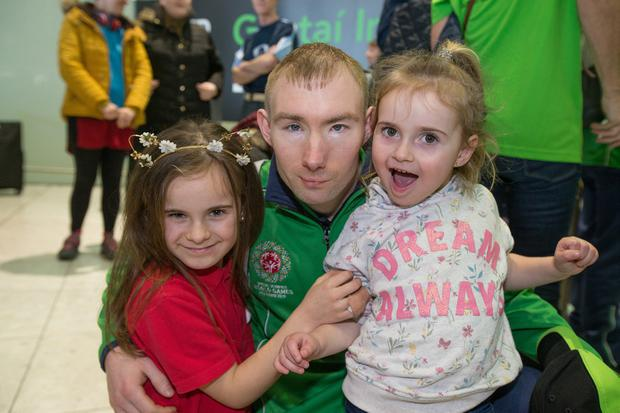 Michael Hardiman with nieces Millie (3) and Sophie (8). Photo: Mark Condren