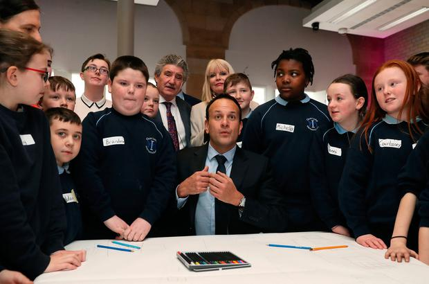 Won't budge on position: Taoiseach Leo Varadkar with pupils from Our Lady Immaculate, Darndale, Dublin, during the Government's launch of the Action Plan for Education 2019 yesterday. Photo: PA
