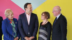 Taoiseach, Leo Varadkar, with (L-R) Minister Heather Humphreys, Orla O'Connor, Director of the National women's council and Minister Charlie Flanagan after a cabinet meeting on International Women's Day Picture credit: Damien Eagers / INM