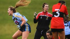 8 March 2019; Andrea Murphy of UCD celebrates after scoring her side's second goal during the Gourmet Food Parlour O'Connor Cup Semi-Final match between University College Dublin and University College Cork at the GAA Centre of Excellence in Abbotstown, Dublin. Photo by David Fitzgerald/Sportsfile