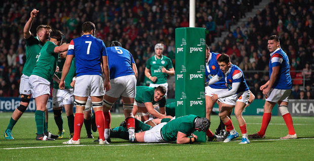 8 March 2019; Josh Wycherley of Ireland scores the first try during the U20 Six Nations Rugby Championship match between Ireland and France at Irish Independent Park in Cork. Photo by Matt Browne/Sportsfile