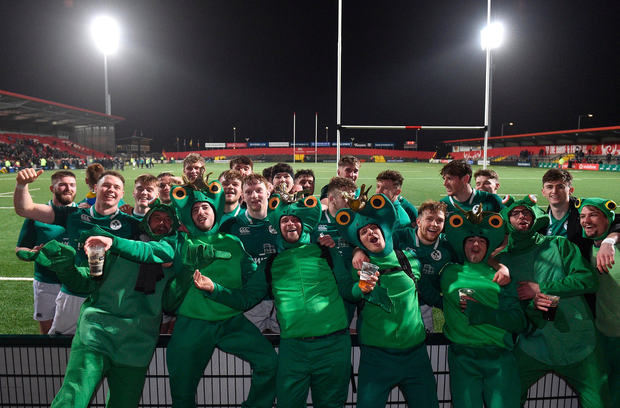8 March 2019; Ireland players and supporters celebrate after the U20 Six Nations Rugby Championship match between Ireland and France at Irish Independent Park in Cork. Photo by Matt Browne/Sportsfile