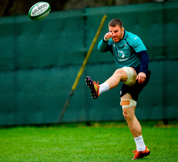 Seán O'Brien puts his best foot forward at Carton House yesterday despite being left out of the Ireland squad to face France. Photo: Sportsfile