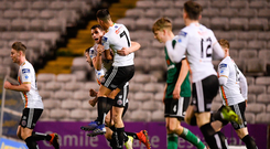 8 March 2019; James Finnerty of Bohemians celebrates with team-mate Daniel Mandroiu after scoring his side's first goal during the SSE Airtricity League Premier Division match between Bohemians and Derry City at Dalymount Park in Dublin. Photo by Eóin Noonan/Sportsfile