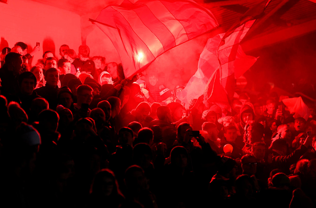 8 March 2019; St Patrick's Athletic supporters during the SSE Airtricity League Premier Division match between St Patrick's Athletic and Shamrock Rovers at Richmond Park in Dublin. Photo by Stephen McCarthy/Sportsfile