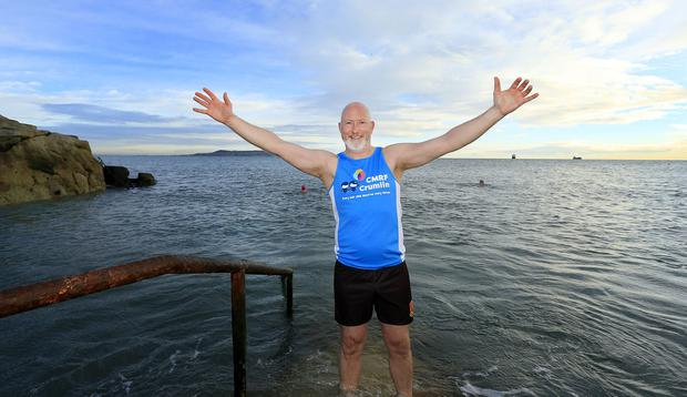 David O'Reilly began his 200km walk with a dip. Picture: Gerry Mooney