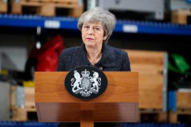 British Prime Minister Theresa May giving a speech at the Orsted East Coast Hub in Grimsby, Lincolnshire. Photo: Christopher Furlong/PA Wire