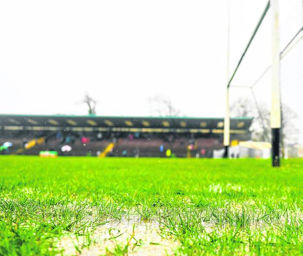 A view of the pitch prior to the postponement of the Division 1B Round 5 match between Waterford and Galway at Walsh Park last weekend. Photo: Seb Daly/Sportsfile