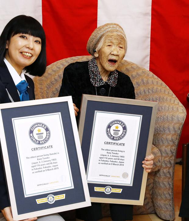 116-year-old Japanese woman Kane Tanaka celebrates during a ceremony to recognise her as the world's oldest person living and world's oldest woman living by the Guinness World Records in Fukuoka, Japan March 9, 2019. Kyodo/via REUTERS