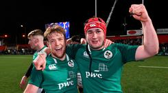 Liam Turner, left, and John Hodnett of Ireland celebrate after the U20 Six Nations Rugby Championship match between Ireland and France at Irish Independent Park in Cork. Photo by Matt Browne/Sportsfile