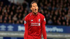 Liverpool's Virgil van Dijk rues a missed chance during the Premier League match at Goodison Park. Peter Byrne/PA Wire