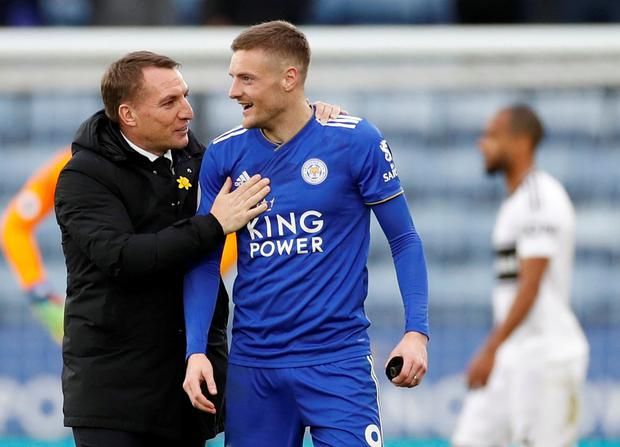 Soccer Football - Premier League - Leicester City v Fulham - King Power Stadium, Leicester, Britain - March 9, 2019 Leicester City manager Brendan Rodgers celebrates with Jamie Vardy after the match Action Images via Reuters/Carl Recine