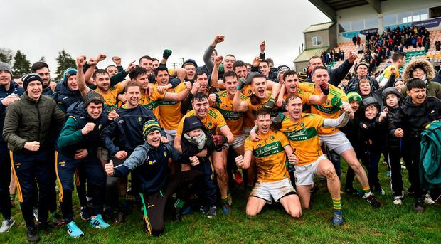 'The game was tight and tense, but they came through and the feeling afterwards was one of relief more than anything else, as it often is when something is achieved after great effort and disappointment along the way.' Photo: Oliver McVeigh/Sportsfile
