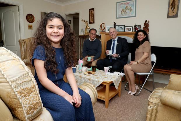 Lorca Fakir and her parents Angham Younes and Zouheir Fakir are the first refugee family under the initiative in Dunshaughlin. They are seen here with Minister of State for Equality, Immigration and Integration David Stanton
