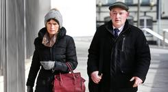 Farmer Pat Quirke, who is on trial for murder, leaving court with his wife Imelda in Dublin last week. Photo: Steve Humphreys