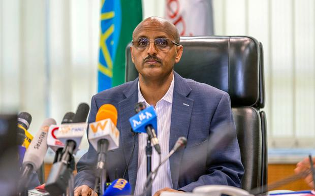Ethiopian Airlines CEO Tewolde Gebremariam holds a press briefing at the headquarters of Ethiopian Airlines in Addis Ababa, Ethiopia, Sunday, March 10, 2019. (AP Photo/Mulugeta Ayene)