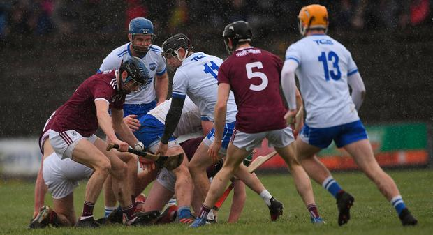 Seán Loftus of Galway gathers possession during the Allianz Hurling League Division 1B Round 5 match between Waterford and Galway at Walsh Park in Waterford. Photo by Piaras Ó Mídheach/Sportsfile