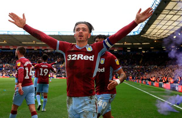 Aston Villa's Jack Grealish celebrates scoring his sides first goal of the game during the Sky Bet Championship match at St Andrew's Trillion Trophy Stadium, Birmingham. Nick Potts/PA Wire.