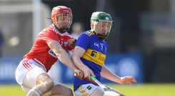 10 March 2019; Robert Byrne of Tipperary in action against Bill Cooper of Cork during the Allianz Hurling League Division 1A Round 5 match between Cork and Tipperary at Páirc Uí Rinn in Cork. Photo by Stephen McCarthy/Sportsfile
