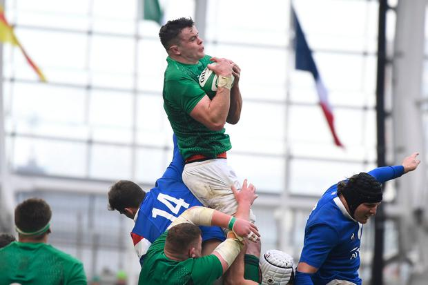 Ireland's lock James Ryan catches the ball during the Six Nations international rugby union match between Ireland and France at the Aviva Stadium in Dublin, on March 10, 2019. (Photo by DAMIEN MEYER / AFP)DAMIEN MEYER/AFP/Getty Images