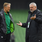 Ireland head coach Joe Schmidt, left, with Wales head coach Warren Gatland. Photo by Brendan Moran/Sportsfile