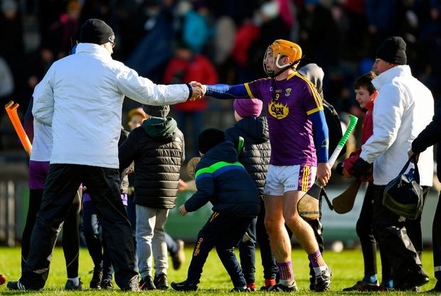 Kevin Foley is congratulated by an umpire at the end of the game. Photo: Ray McManus/Sportsfile
