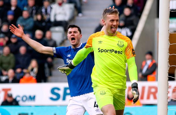 Everton goalkeeper Jordan Pickford gestures towards fans during his sides Premier League defeat to Newcastle United at St James' Park. Photo: Owen Humphreys/PA Wire