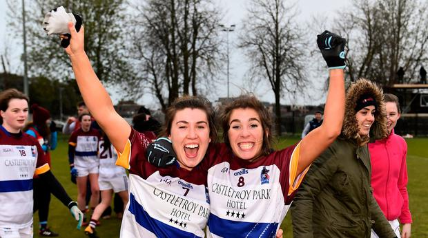 That winning feeling: University of Limerick's Joanne Cregg and Elaine Fitzpatrick celebrate. Photo: Eóin Noonan/Sportsfile