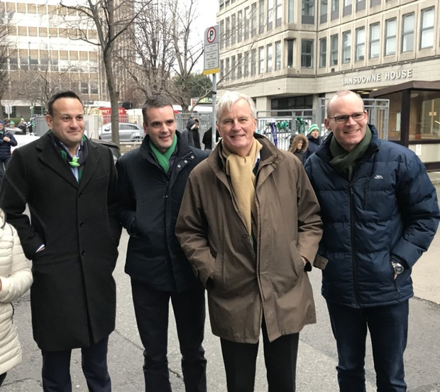 In Dublin for rugby: Michel Barnier met Taoiseach Leo Varadkar, IFA president Joe Healy and Tánaiste Simon Coveney. Photo: Chris Donoghue/twitter