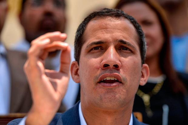 Outspoken: Venezuelan opposition leader Juan Guaidó gives a news conference in Caracas about the blackouts. Photo: AFP/Getty Images