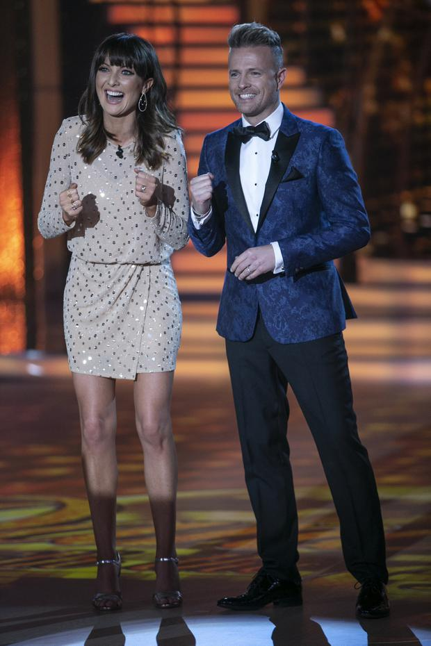Presenter Jennifer Zamparelli and Nicky Byrne during the second live show of Dancing With The Stars