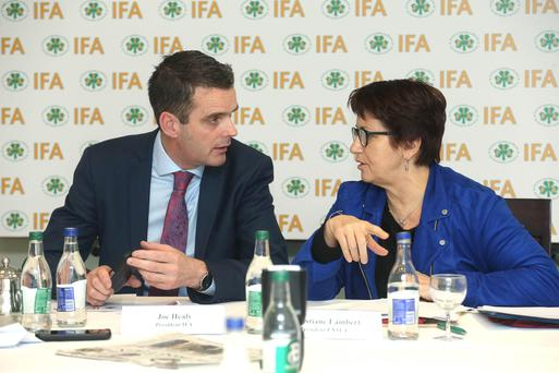 11/3/19 NO REPRO FEE IFA President Joe Healy & French farm leader Christiane Lambert (FNSEA) lead a bilateral meeting between the two groups in the Irish Farm Centre, where they discussed Brexit, CAP & climate change. Picture: Finbarr O'Rourke NO FEE