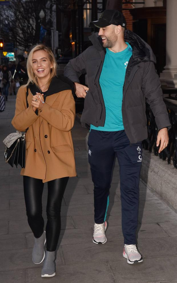Conor Murray and girlfriend Joanna Cooper spotted at The Shelbourne Hotel ahead of Ireland's 6 Nations clash with France in Dublin