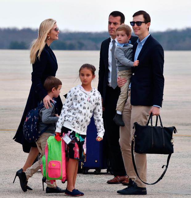 Jared Kushner, wife Ivanka Trump and children arrive at Andrews Air Force Base in Maryland following the weekend at US President Donald Trump's Mar-a-Lago estate in Florida. (Photo by Nicholas Kamm / AFP)