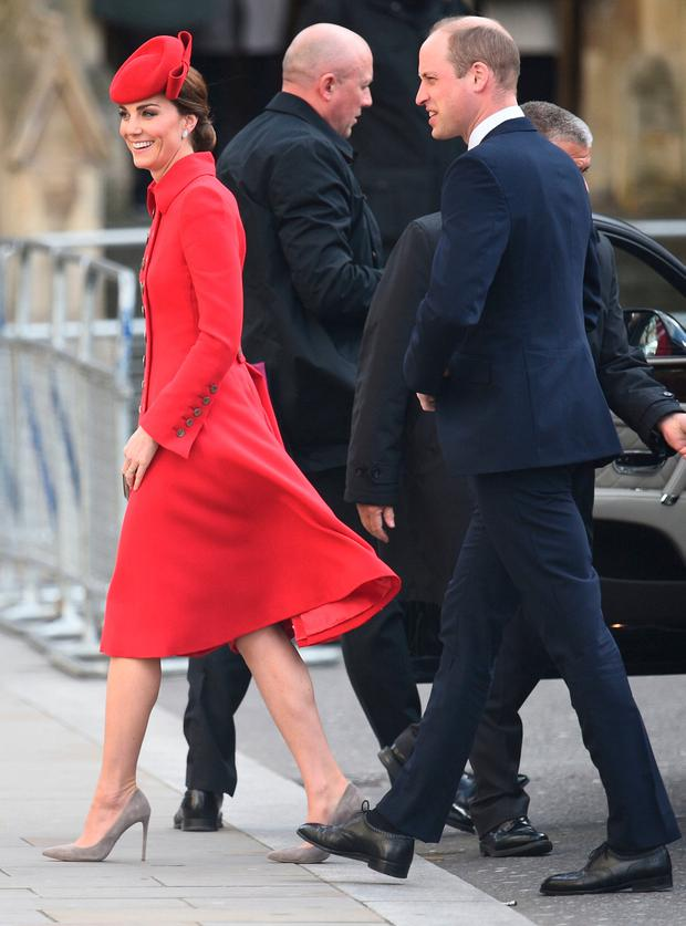 The Duke and Duchess of Cambridge arrive for the Commonwealth Service at Westminster Abbey, London