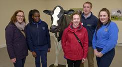 Lisa Daunt, guidance councillor, with student Ramiya Renolds, teacher Maitead Dullea, James Daunt of Teagasc, and Lorraine Collins from Kinsale Community School at the open day at Clonakilty Agricultural College. Photo by Denis Boyle
