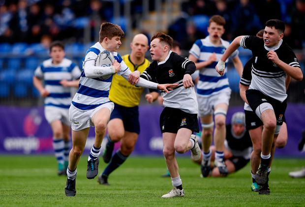 Will Fitzgerald of Blackrock College in action against Tadhg Brophy of Newbridge College. Photo by Harry Murphy/Sportsfile