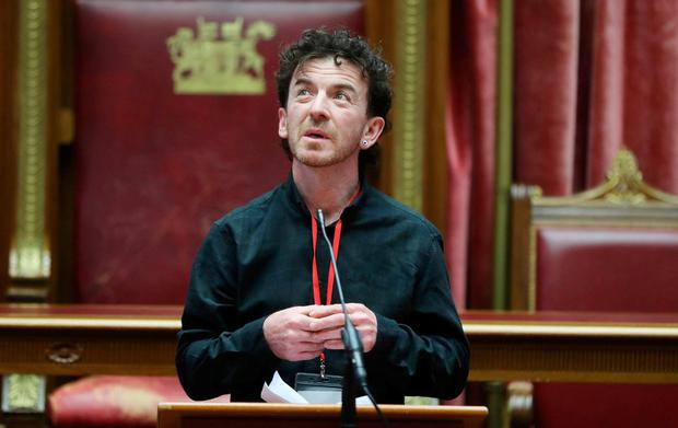 Emotional: Seamus McDonald speaking during European Day for Victims of Terrorism at Stormont in Belfast yesterday. Photo: Niall Carson/PA Wire