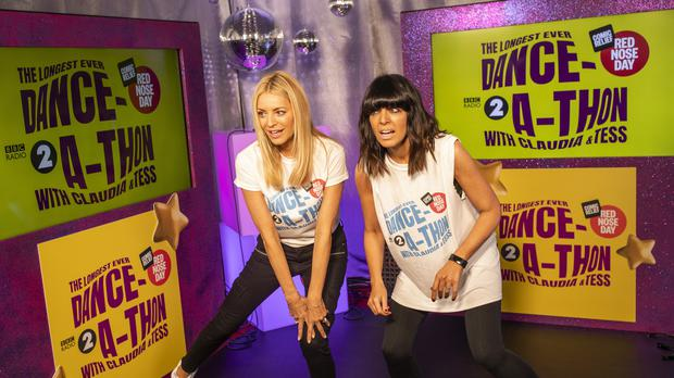 Claudia Winkleman (left) and Tess Daly have started their attempt at the longest ever Danceathon in Red Nose Day history Comic Relief)
