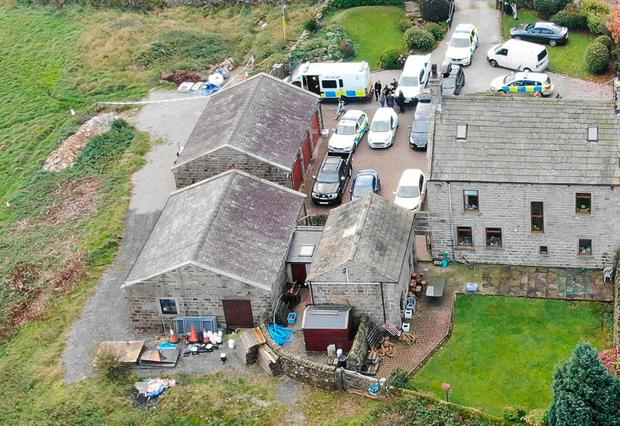 The property of Geoffrey Crossland with the bunker complex beneath the outbuilding to the left. Photo: North Yorkshire Police/PA Wire